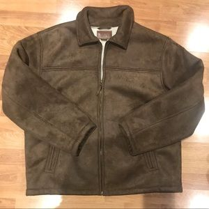 LEE Brown Sueded Finish Work Coat w Sherpa lining